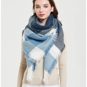 Blue, Gray, and White Plaid Scarf